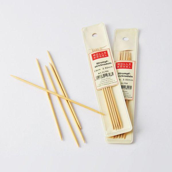 Wolle Rödel Strumpfstricknadel 15cm Bambus