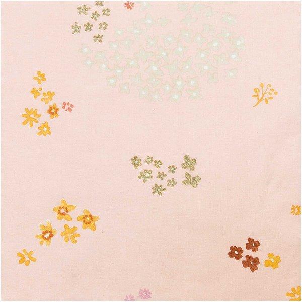 Rico Design Druckstoff Crafted Nature Blumen rosa-metallic 50x140cm beschichtet