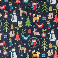 Rico Design Stoff Weihnachten Tiermotive blau 160cm