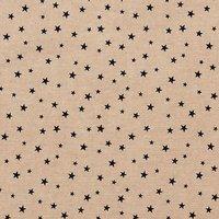 Rico Design Stoff Sterne klein natur-schwarz 50x140cm
