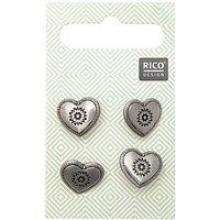 Rico Design Trachtenknöpfe Herz metall 1,5cm 4 Stück