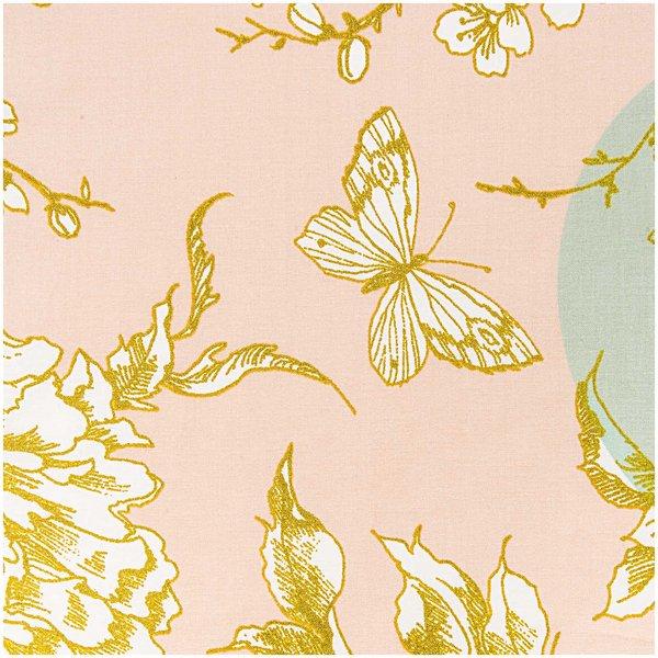 Rico Design Stoff Kirschblüte puder-mint-gold 140cm beschichtet