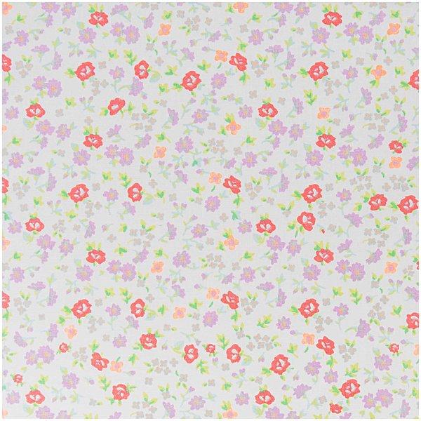 Rico Design Stoff Blumen weiß-violett 160cm