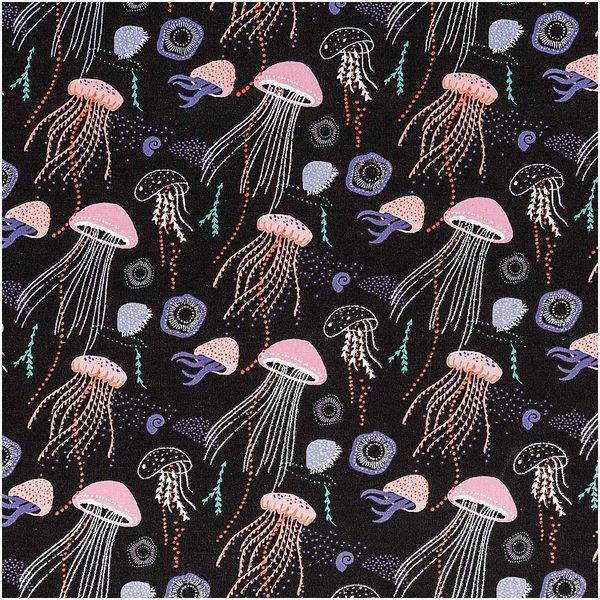 Rico Design Druckstoff Mermaid Quallen schwarz-neon Hot Foil 50x140cm