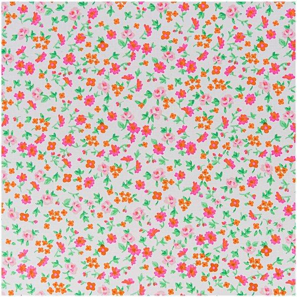 Rico Design Stoff Blumen weiß-neonpink 50x160cm