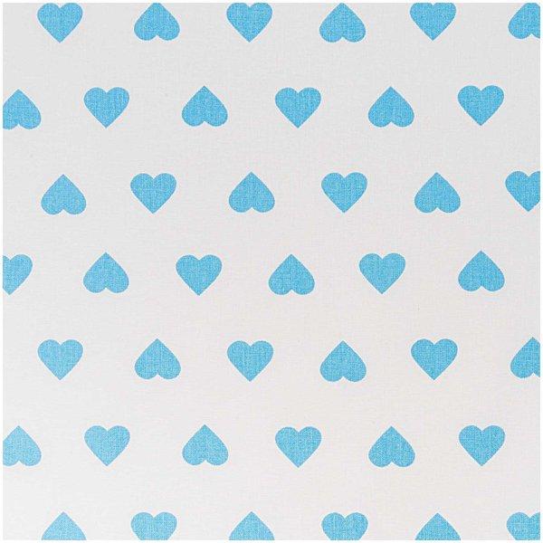Rico Design Stoff weiß-hellblaue Herzen 160cm