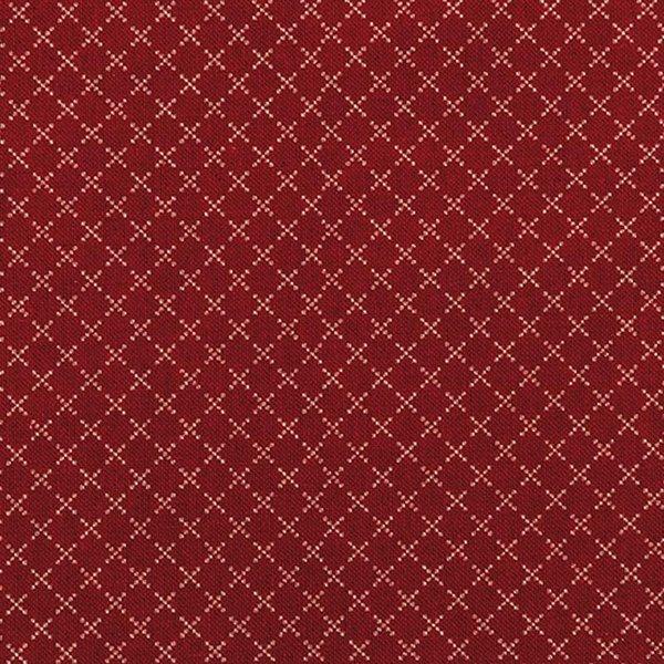 Rico Design Stoff Rauten rot-natur 140cm