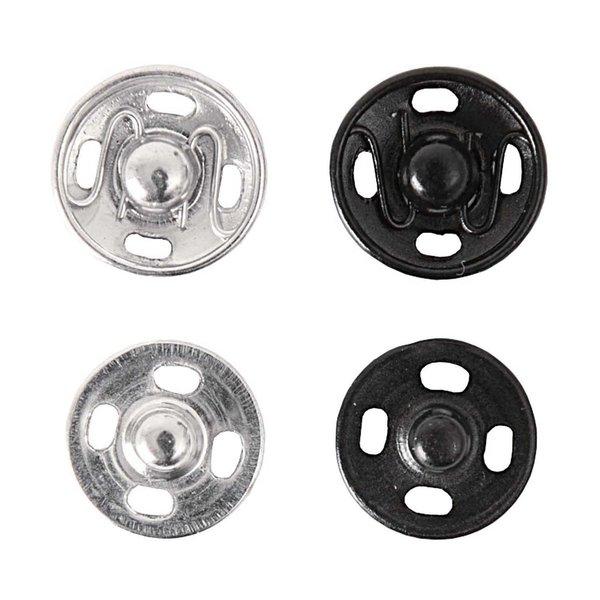 Rico Design Druckknopf Mix silber-schwarz 12mm 12 Stück