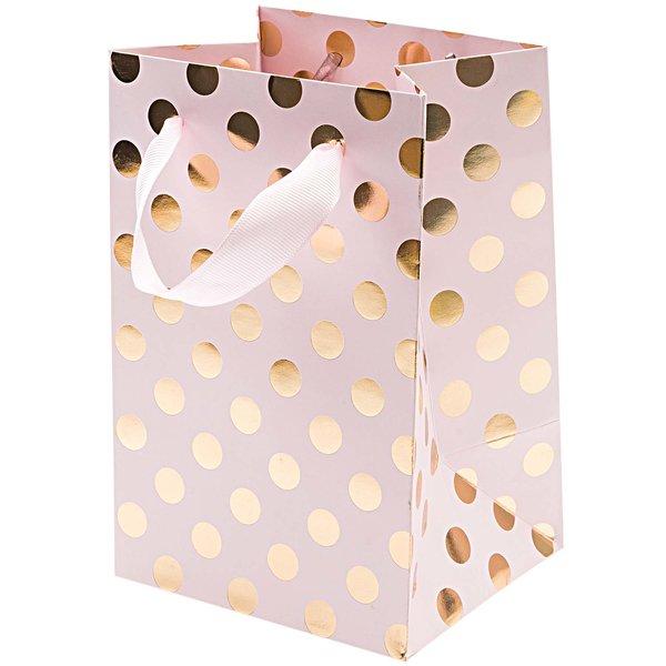 Rico Design Geschenktüte rosa Punkte gold 12x18x10cm