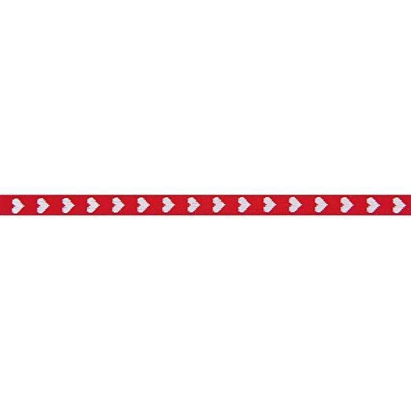 Rico Design Ribbon gewebte Herzen rot-weiß 2m