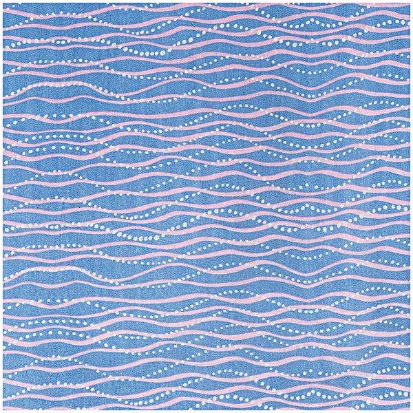 Rico Design Musselin-Druckstoff Mermaid Wellen blau Hot Foil 140cm