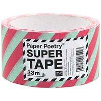 Paper Poetry Paketklebeband gestreift mint-rot 5cm 33m