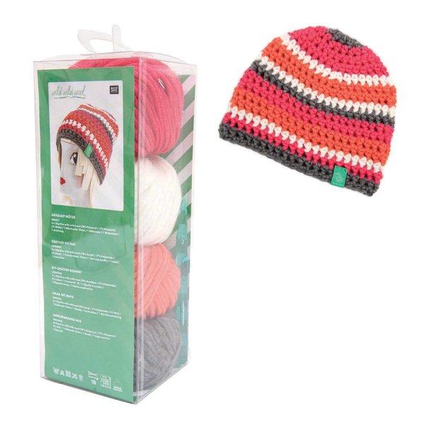 Rico Design Häkelset Mütze Wild Wild Wool pink-mehrfarbig