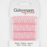 Gütermann Baumwollband Blumen rosa 15mm 2m
