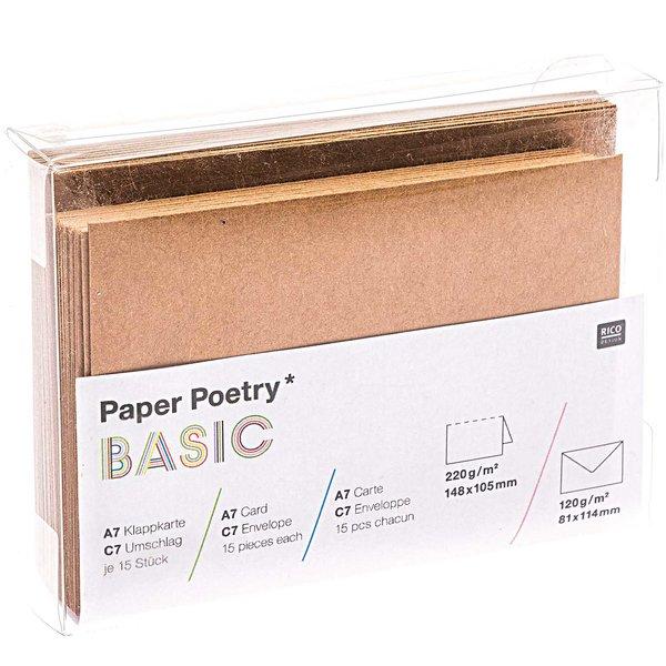 Paper Poetry Kartenset Basic C7/A7 30teilig Kraftpapier