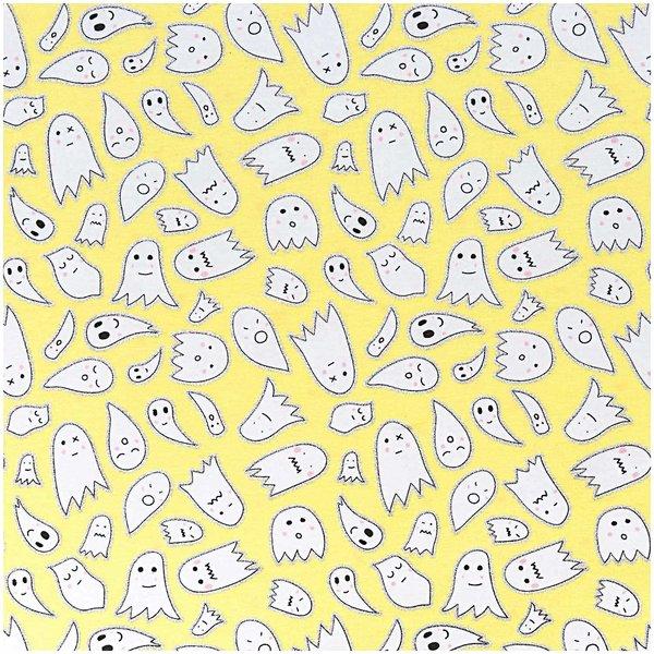 Rico Design Stoff Jersey gelb Geister silber 70x100cm