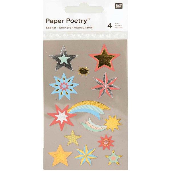 Paper Poetry Sticker Sterne mehrfarbig metallic 4 Bogen