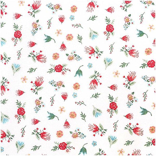Rico Design Stoff Streublumen weiß-mehrfarbig 50x70cm
