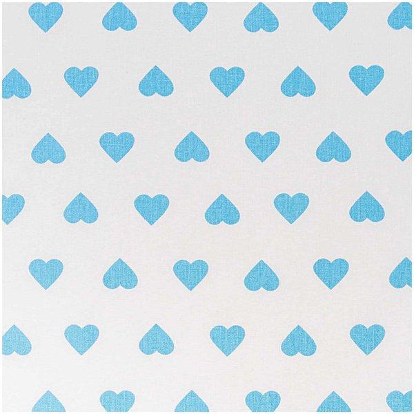 Rico Design Stoff Herzen weiß-hellblau 50x160cm
