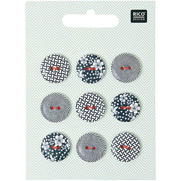 Rico Design Knopf Mix schwarz-weiß 1,8cm 9 Stück