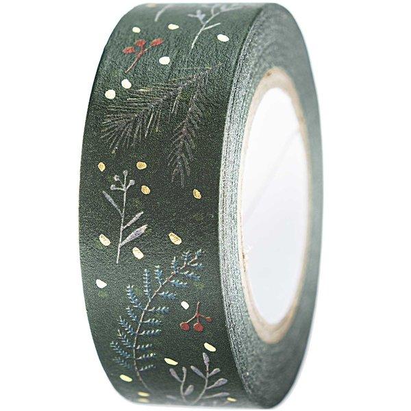 Paper Poetry Tape Nostalgic Christmas Zweige grün 1,5cm 10m