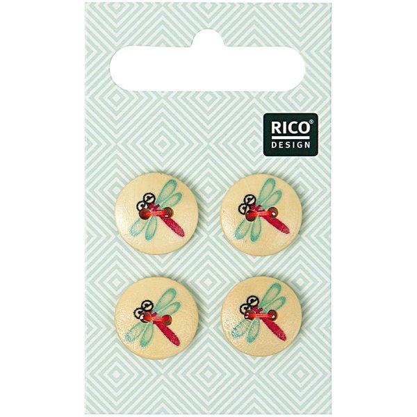 Rico Design Knöpfe mit Libellen 1,5cm 4 Stück