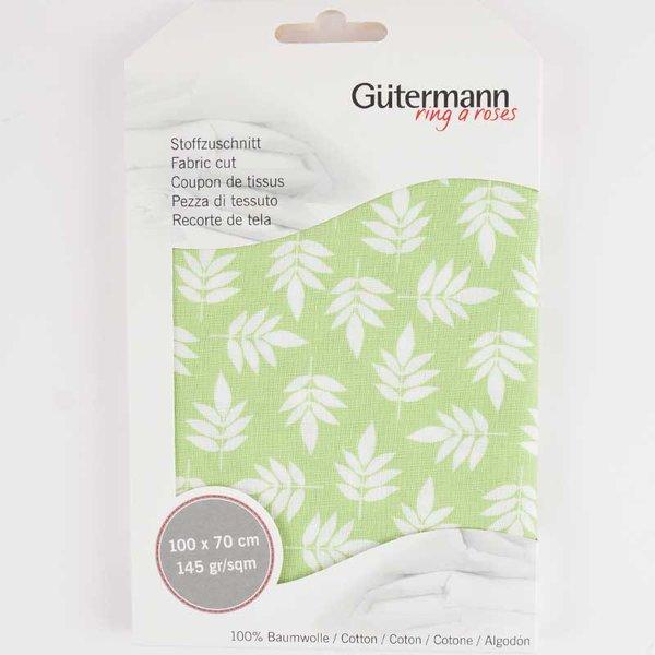 Gütermann Stoff Notting Hill Blätter grün-weiß 70x100cm