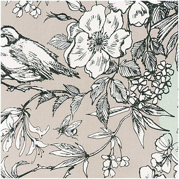 Rico Design Stoff Vögel grau-mint 140cm