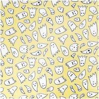 Rico Design Stoff Geister gelb-silber 25x70cm beschichtet