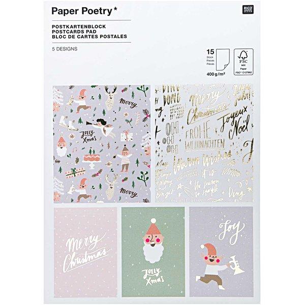 Paper Poetry  Postkartenblock Jolly Christmas pastell 12,5x17,6cm