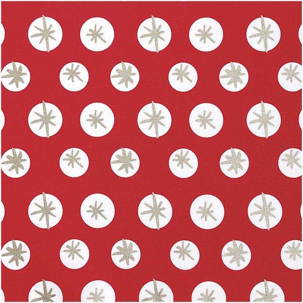 Rico Design Druckstoff Schneeflocken rot-gold 50x140cm