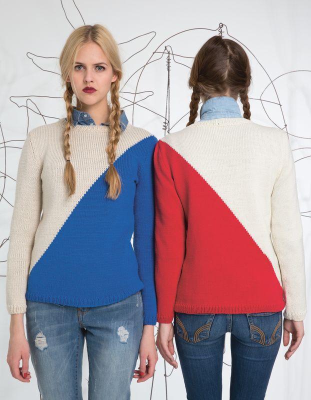Strickanleitung 2 farbiger Pullover