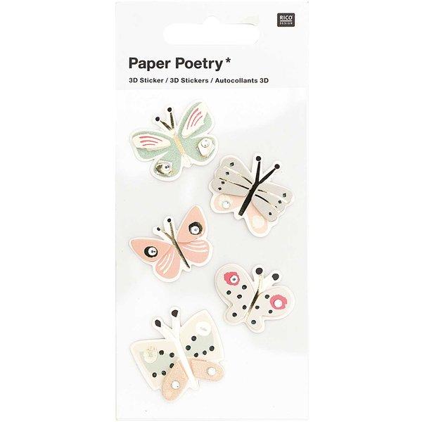 Paper Poetry 3D-Sticker Schmetterlinge bunt 5 Stück
