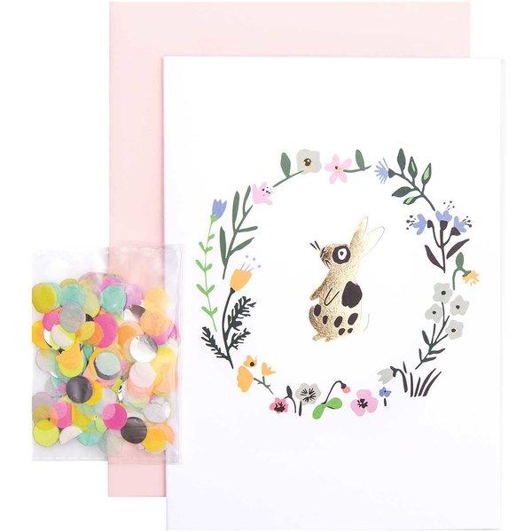 Paper Poetry Grußkartenset Bunny Hop Blumenkranz mit Hase
