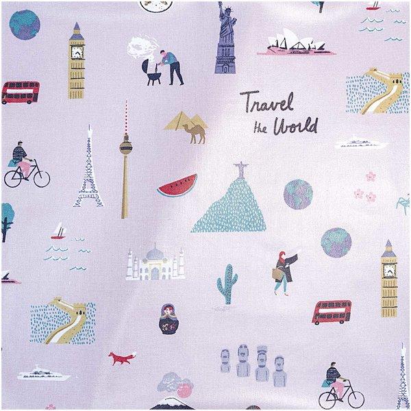 Rico Design Druckstoff Travel the World flieder 140cm beschichtet