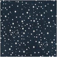 Rico Design Stoff Sterne schwarz-weiß 140cm