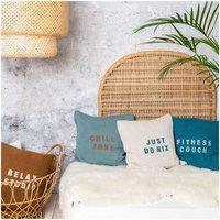 Anleitung Kissen stricken und mit Textilfarbe bestempeln
