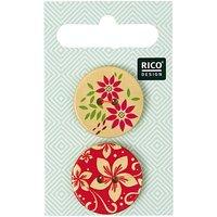 Rico Design Holzknöpfe floral bedruckt 2,5cm 2 Stück