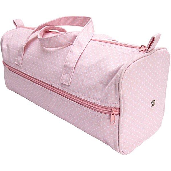 Rico Design Tasche mit Wollspender rosa-weiß 15x42x17,5cm