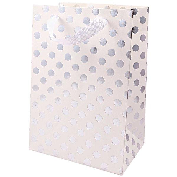 Paper Poetry Geschenktüte weiß Punkte silber 18x26x12cm