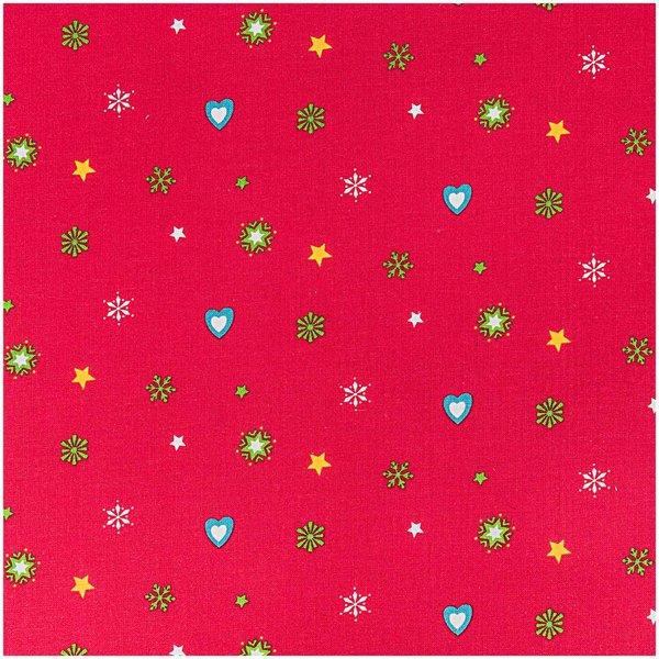Rico Design Stoff Weihnachten Herzen und Sterne rot 50x160cm
