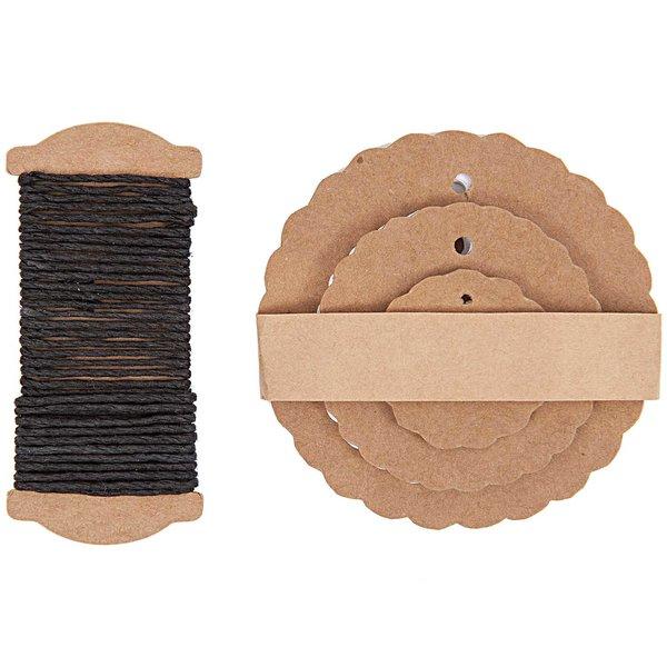 Paper Poetry Geschenkanhänger Rosette braun 30 Stück