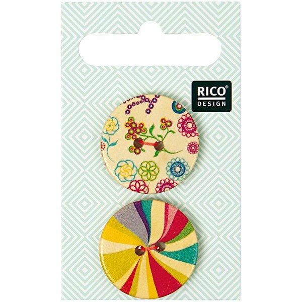 Rico Design Holzknopf mehrfarbig 2,5cm 2 Stück bedruckt