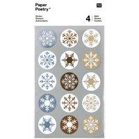 Paper Poetry Sticker Eiskristalle gold-silber 4 Bogen