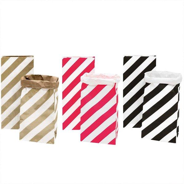 Paper Poetry Maxi-Blockbodenbeutel M Streifen 51x23x13,5cm 2 Stück