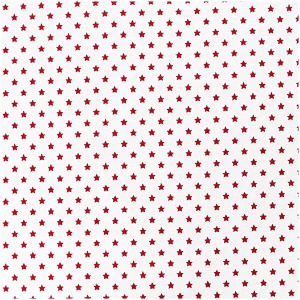 Rico Design Stoff Sterne weiß-rot 50x160cm