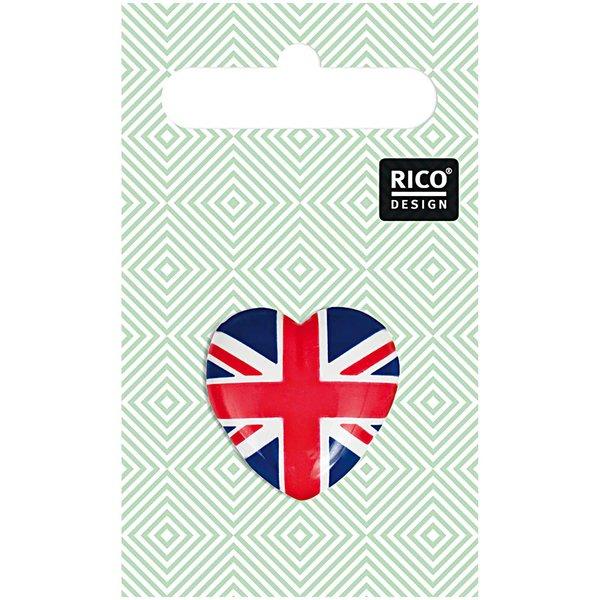 Rico Design Knopf britische Flagge Herz 2,3x2,1cm