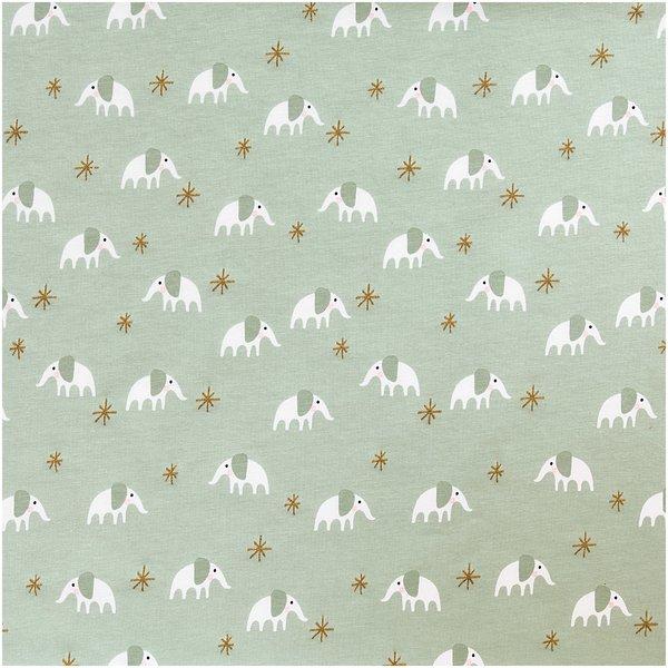 Rico Design Jerseystoff Baby Collection Elefant mint-gold 70x100cm
