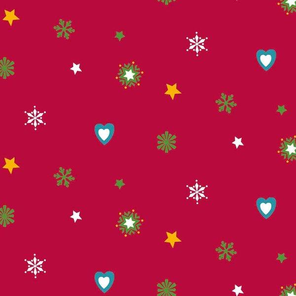 Rico Design Stoff Weihnachten Herzen und Sterne rot 50x55cm