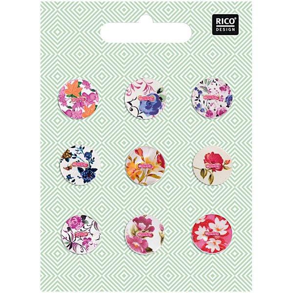 Rico Design Knopfmix perlmutt Floral Nr.2 1,5cm 9 Stück